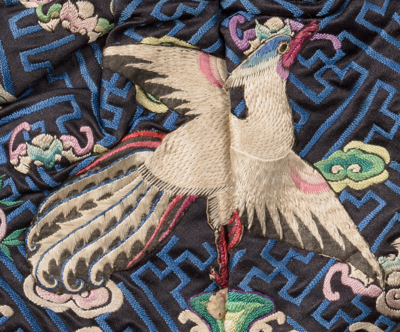 Lot 34: Japanese Scroll & 5 Chinese Silk Embroidered Textiles