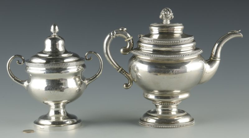 Lot 355: Silver Teapot and sugar bowl