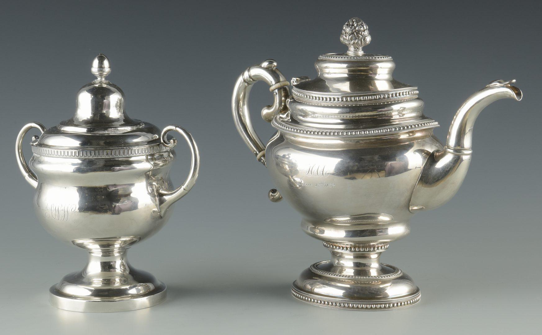 Lot 355: Silver Teapot and sugar bowl