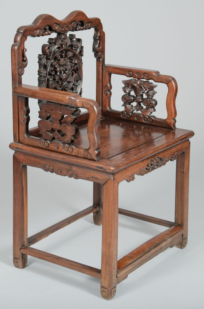 Lot 35: 2 Chinese Carved Hardwood Chairs