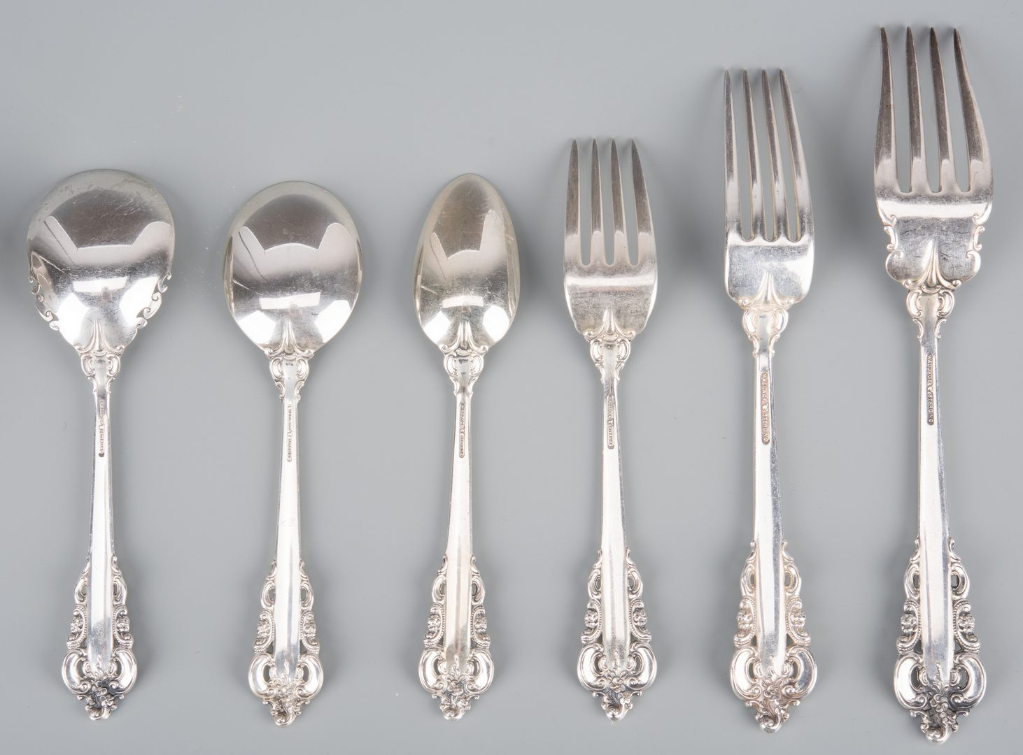 Lot 368: Grand Baroque Sterling Service, 70 pcs