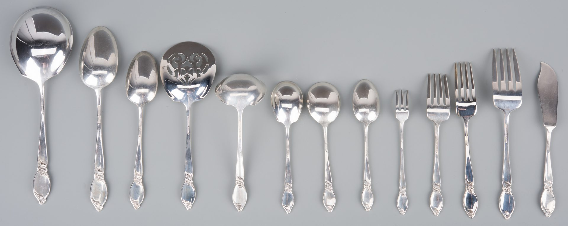 Lot 369: Westmorland Enchanting Orchid Sterling Flatware, 79 pcs
