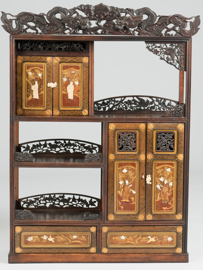 Lot 36: 19th c. Inlaid Meiji Cabinet