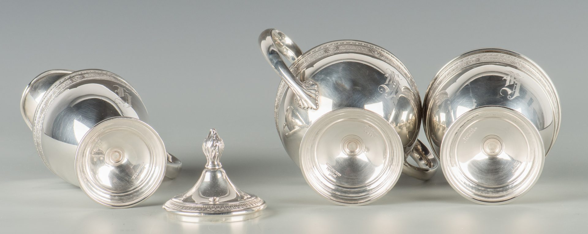 Lot 371: Sterling Tea Set, Wedgwood Pattern