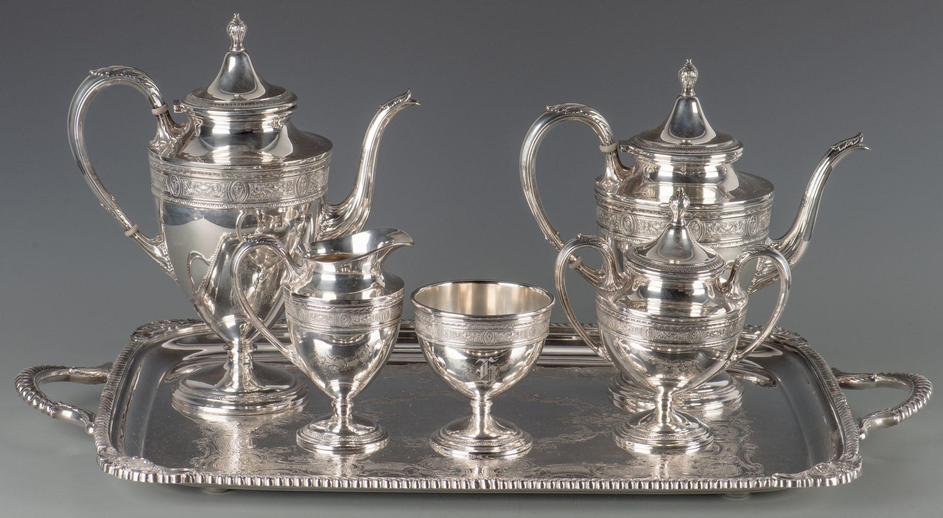 Lot 371: Sterling Tea Set, Wedgwood Pattern