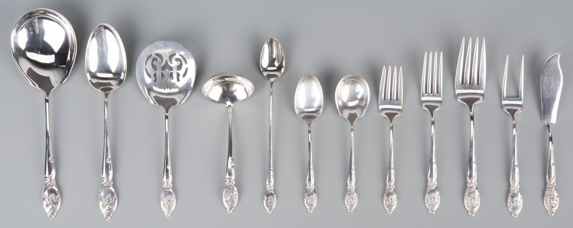 Lot 372: Westmorland Enchanted Orchid Sterling Flatware, 85 pcs