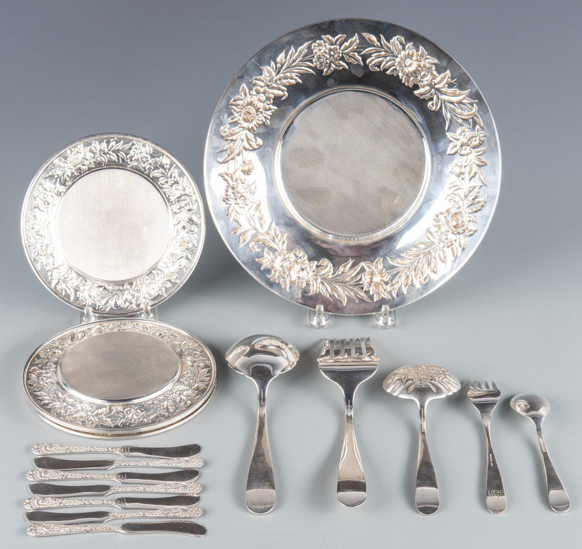 Lot 376: Kirk Repousse Sterling Plates, Flatware, 17 pcs