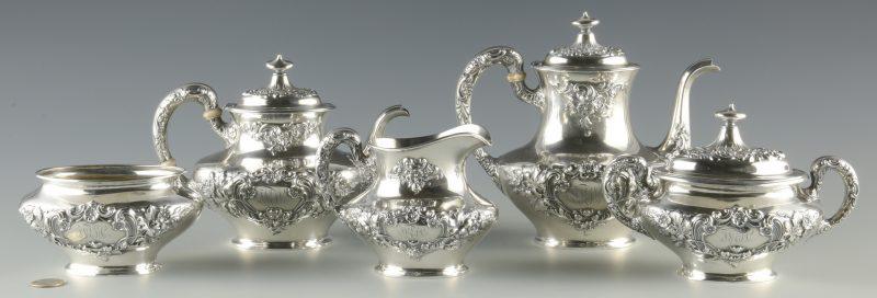 Lot 377: Gorham Buttercup 5 pc Sterling Tea Service