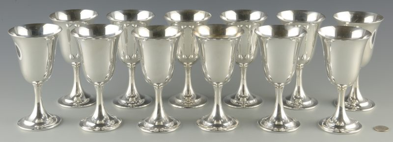 Lot 382: 12 International Sterling Silver Goblets