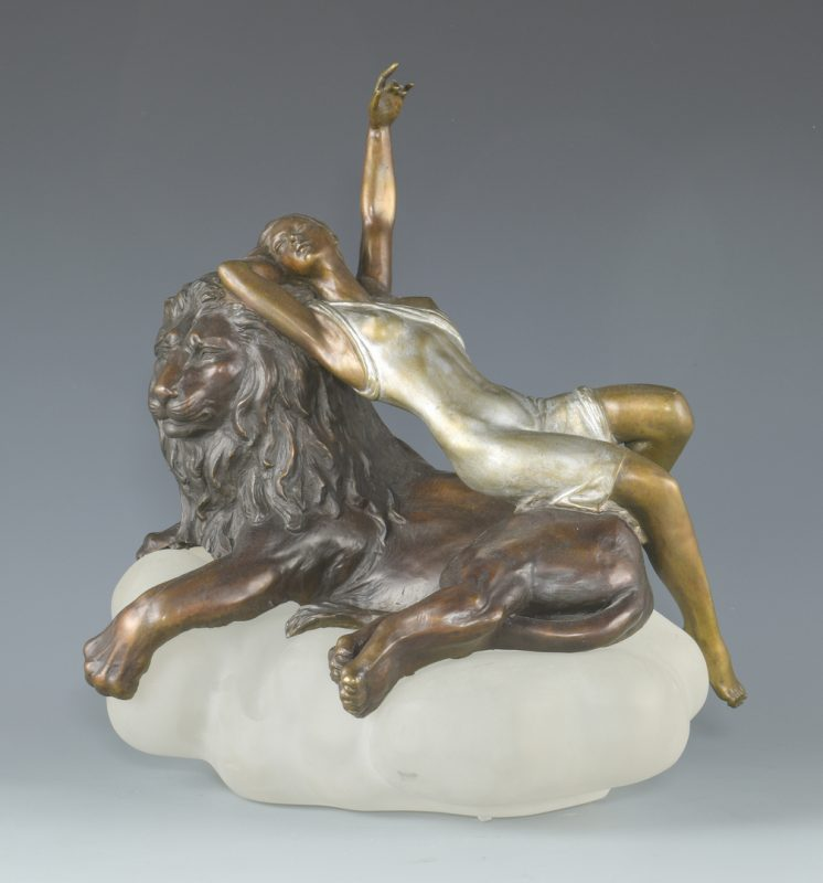 Lot 386: Russian Misha Frid Bronze Nude w/ Lion
