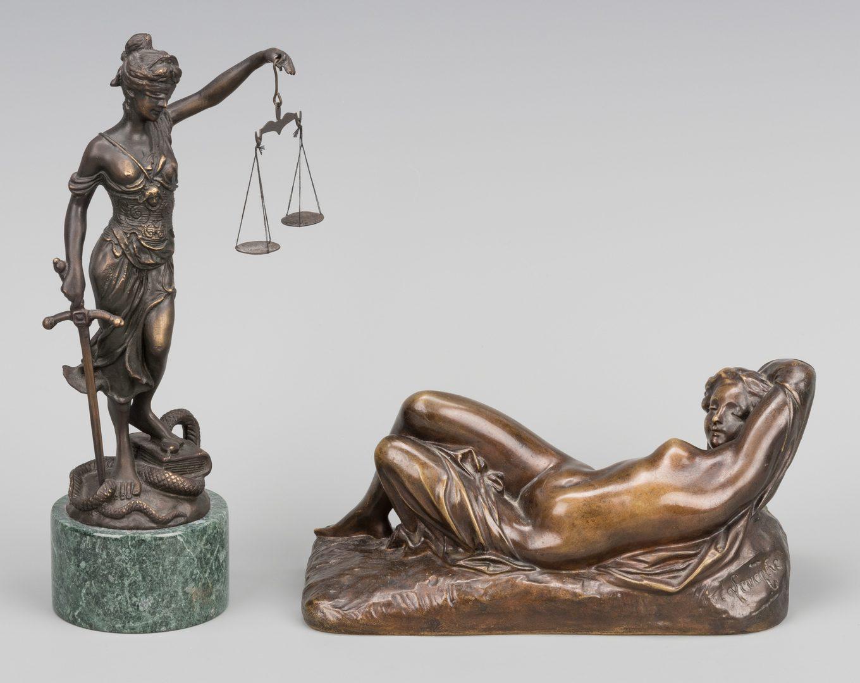 Lot 387: 2 Bronze Female Sculptures, incl. Nude