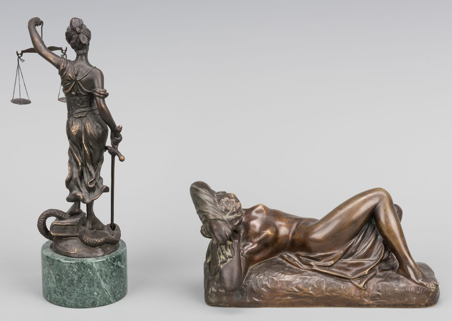 Lot 387: 2 Bronze Female Sculptures, incl. Nude