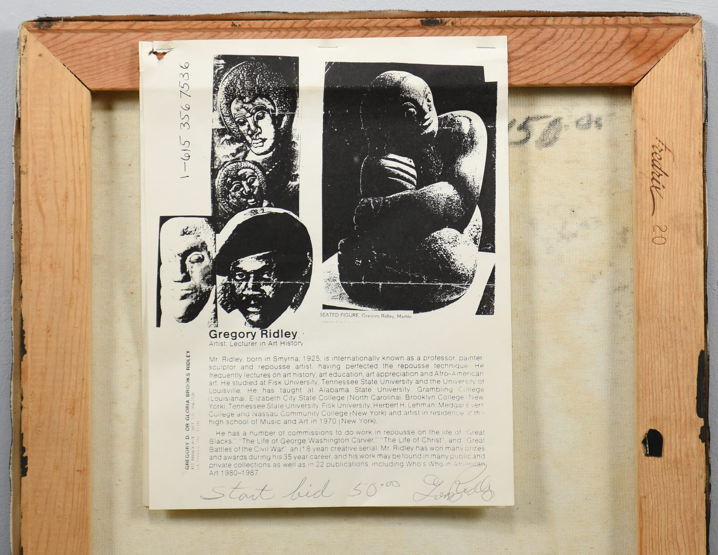 Lot 393: Greg Ridley O/C, Still Life with Masks