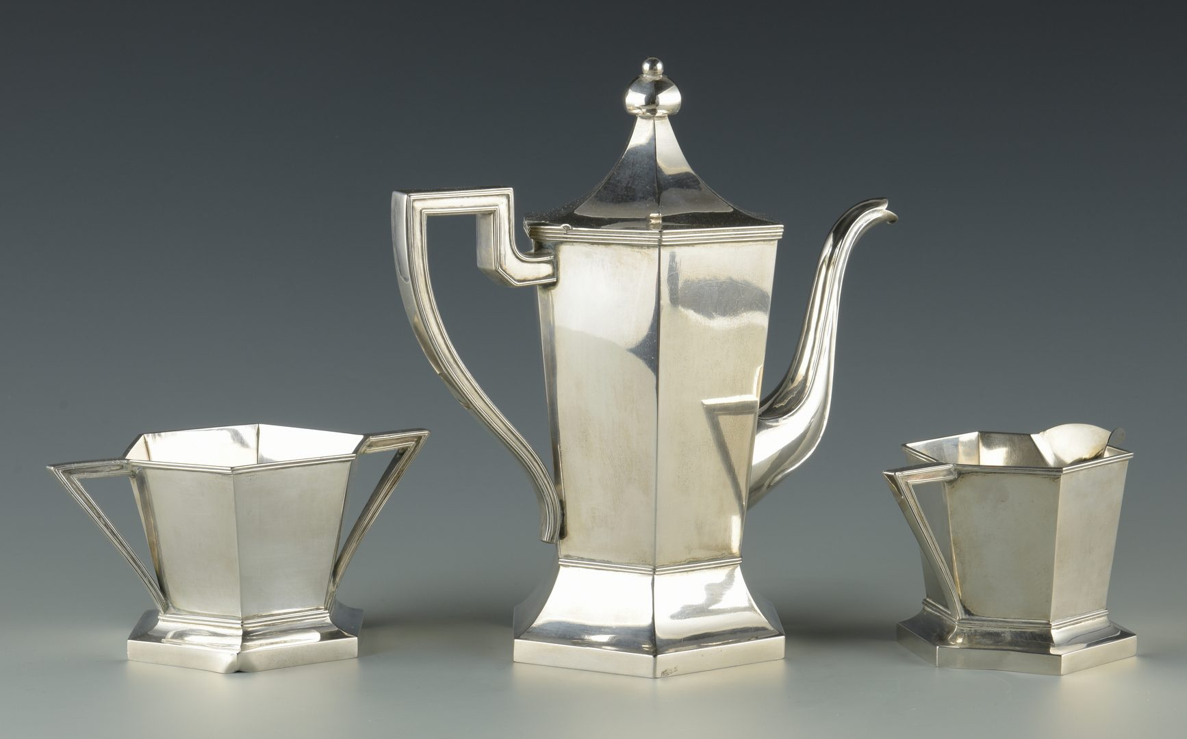 Lot 3: Chinese Export Silver Tea Set, 3 pc, Luen Wo