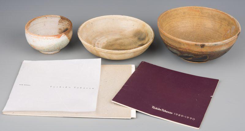 Lot 407: Toshiko Takaezu, 3 Small Pottery Vessels