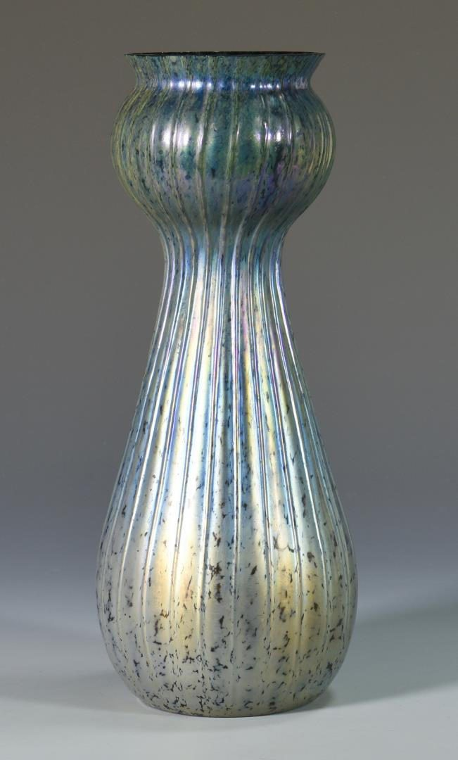 Lot 418: Steuben Type Blue Aurene  Art Glass Vase