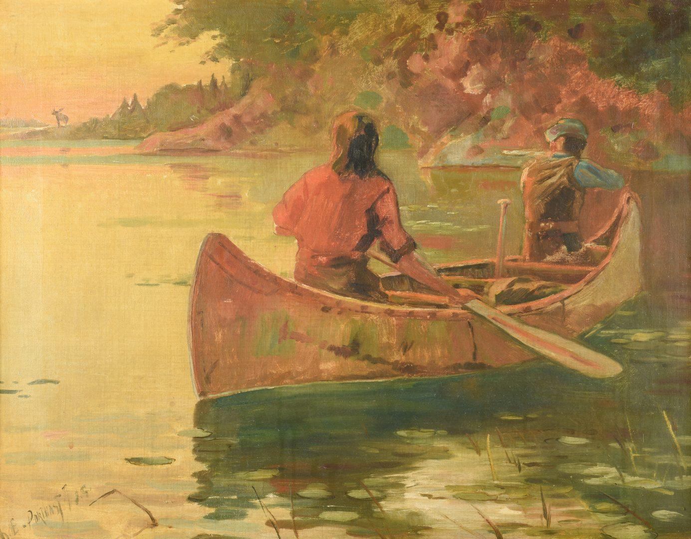 "Lot 423: Canoe Hunting Scene O/C, ""Porthast"""