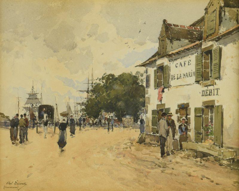 Lot 428: Paul Lecomte Watercolor, Concarneau