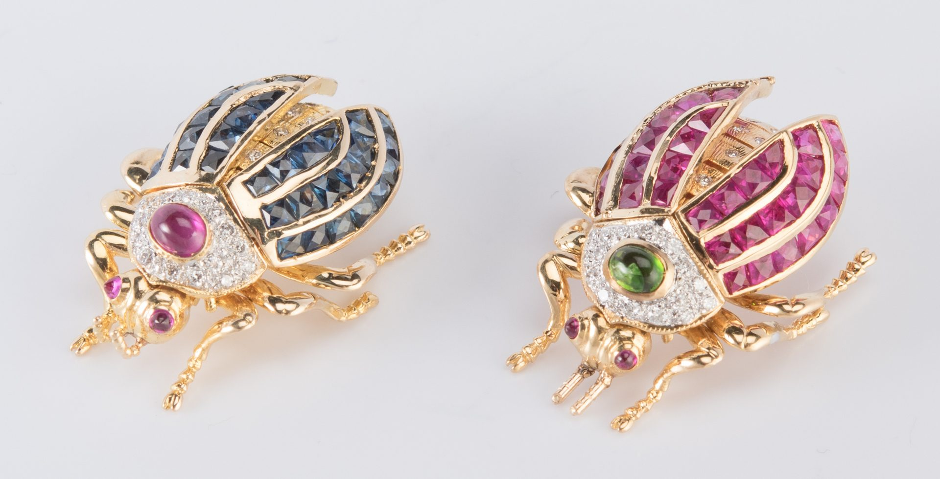Lot 42: 2 Jeweled Beetle Movable Pins