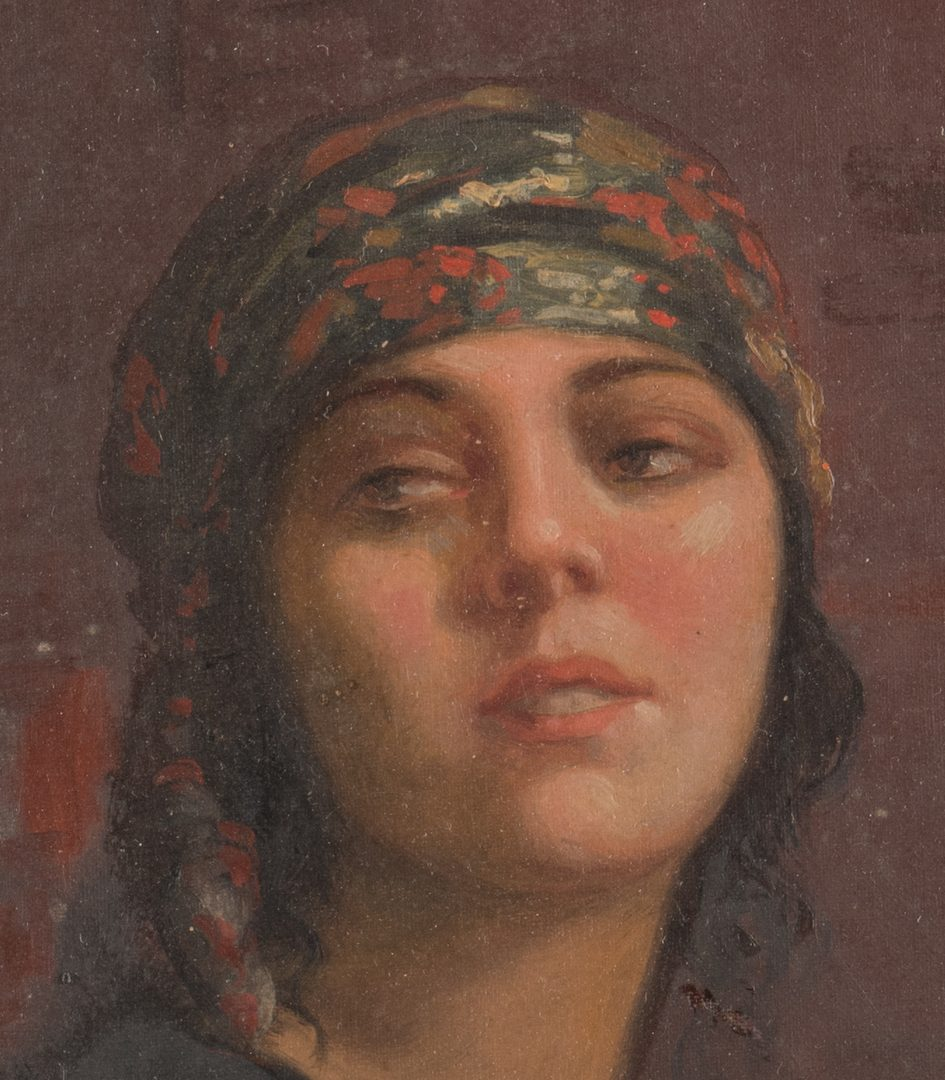 Lot 432: Aurelio Melero, O/B, Orientalist Portrait