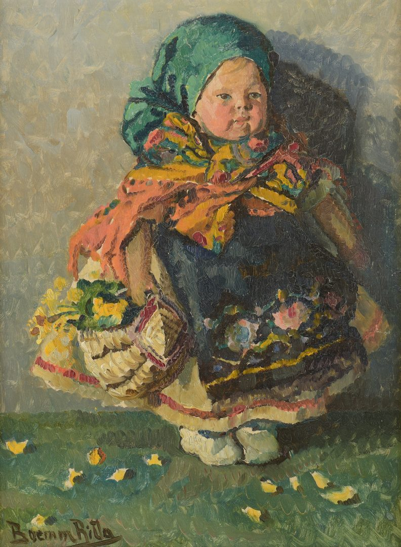 Lot 434: Ritta Boemm O/B Portrait of Young Peasant Girl