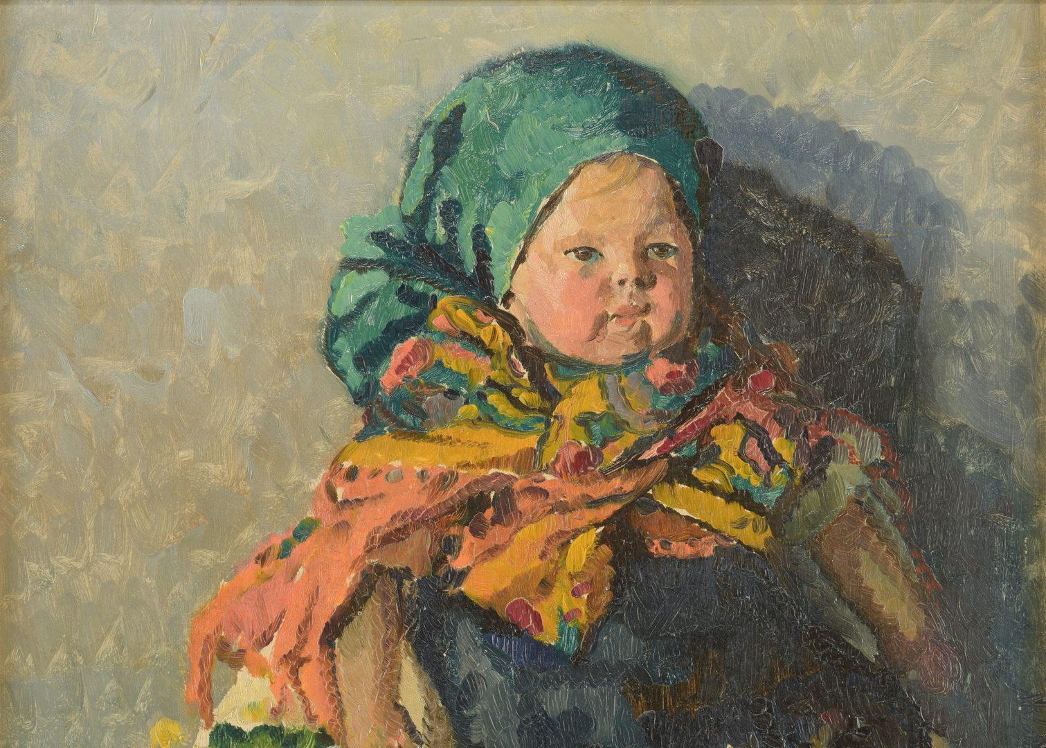 Lot 434: Ritta Boemm O/B Portrait of Young Peasant Girl