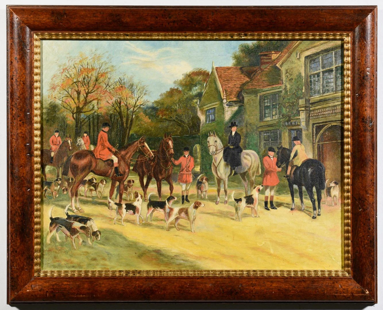 Lot 436: English Oil on Canvas Hunting Scene