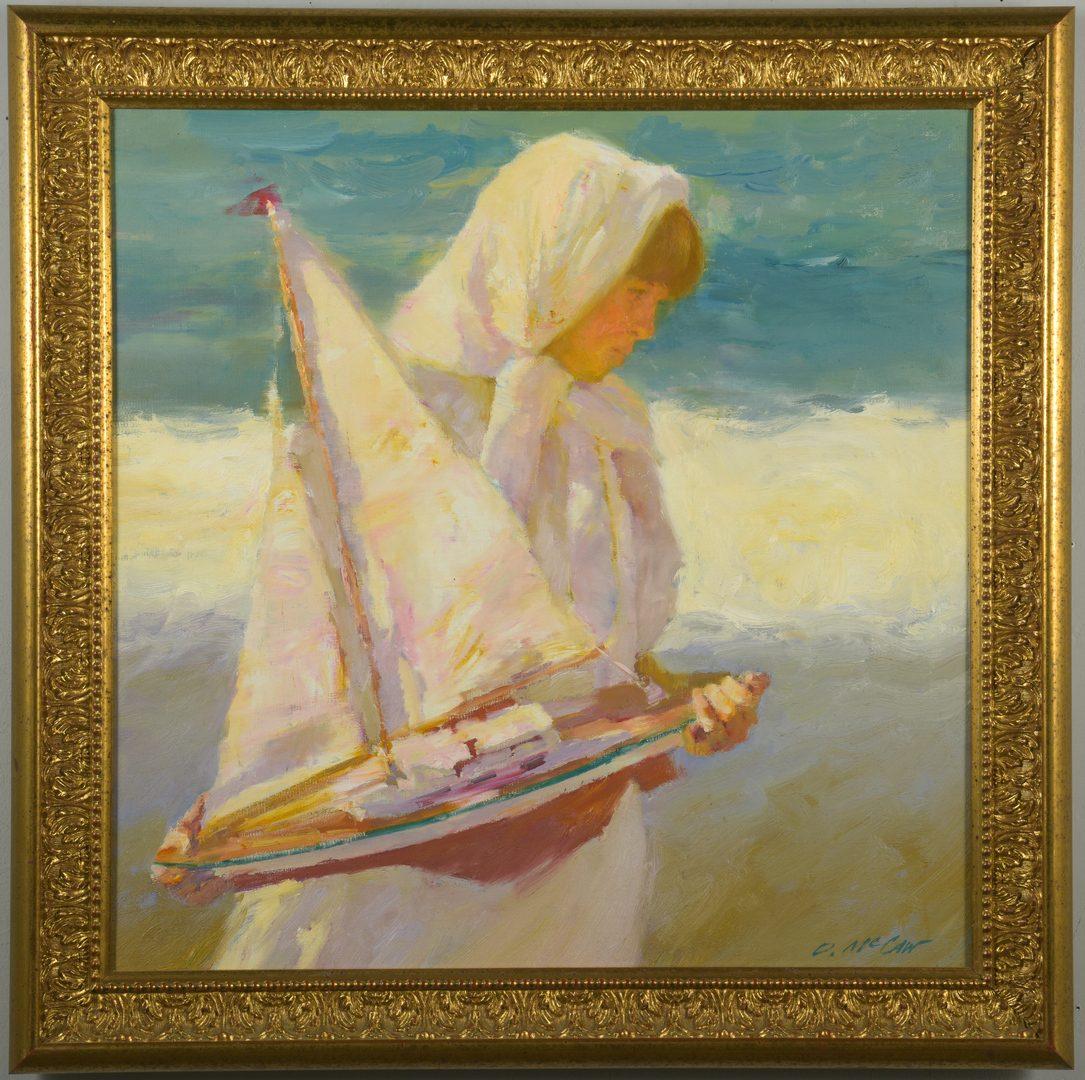 Lot 439: Dan McCaw o/c, Girl with Sailboat