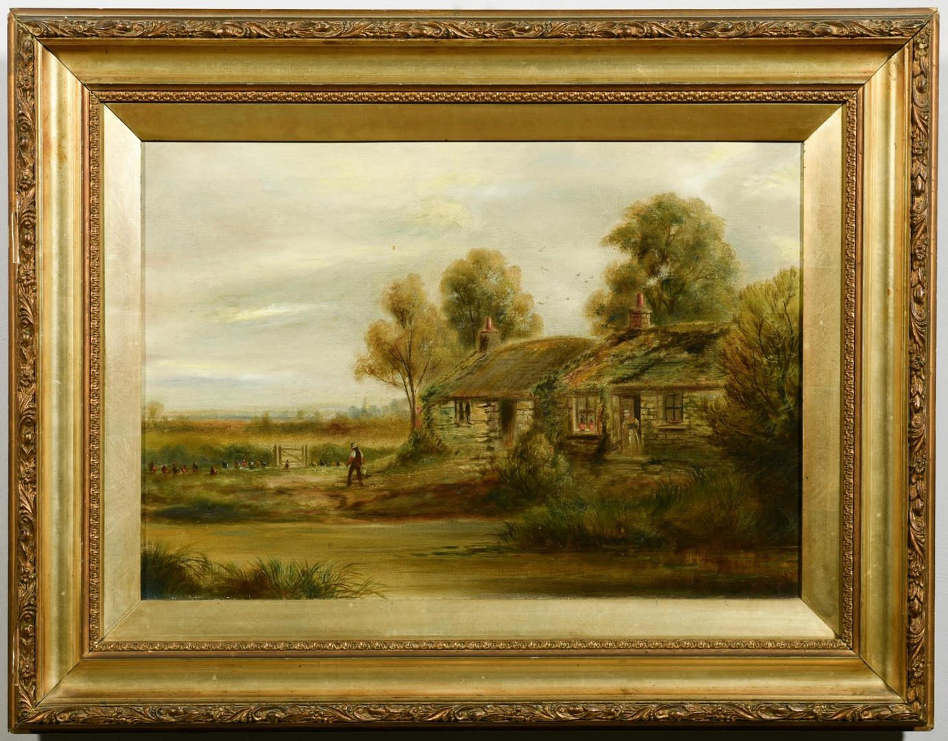 Lot 443: Signed Oil on Canvas Farmstead Scene