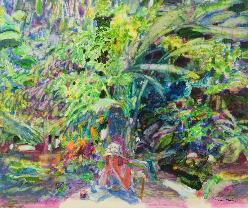 Lot 445: Morton Kaish Gouache Garden Scene