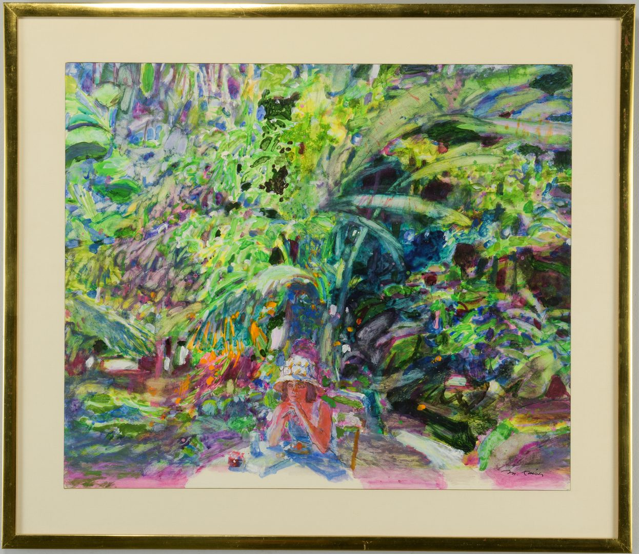 Lot 445: Morton Kaish Gouache Garden Scene