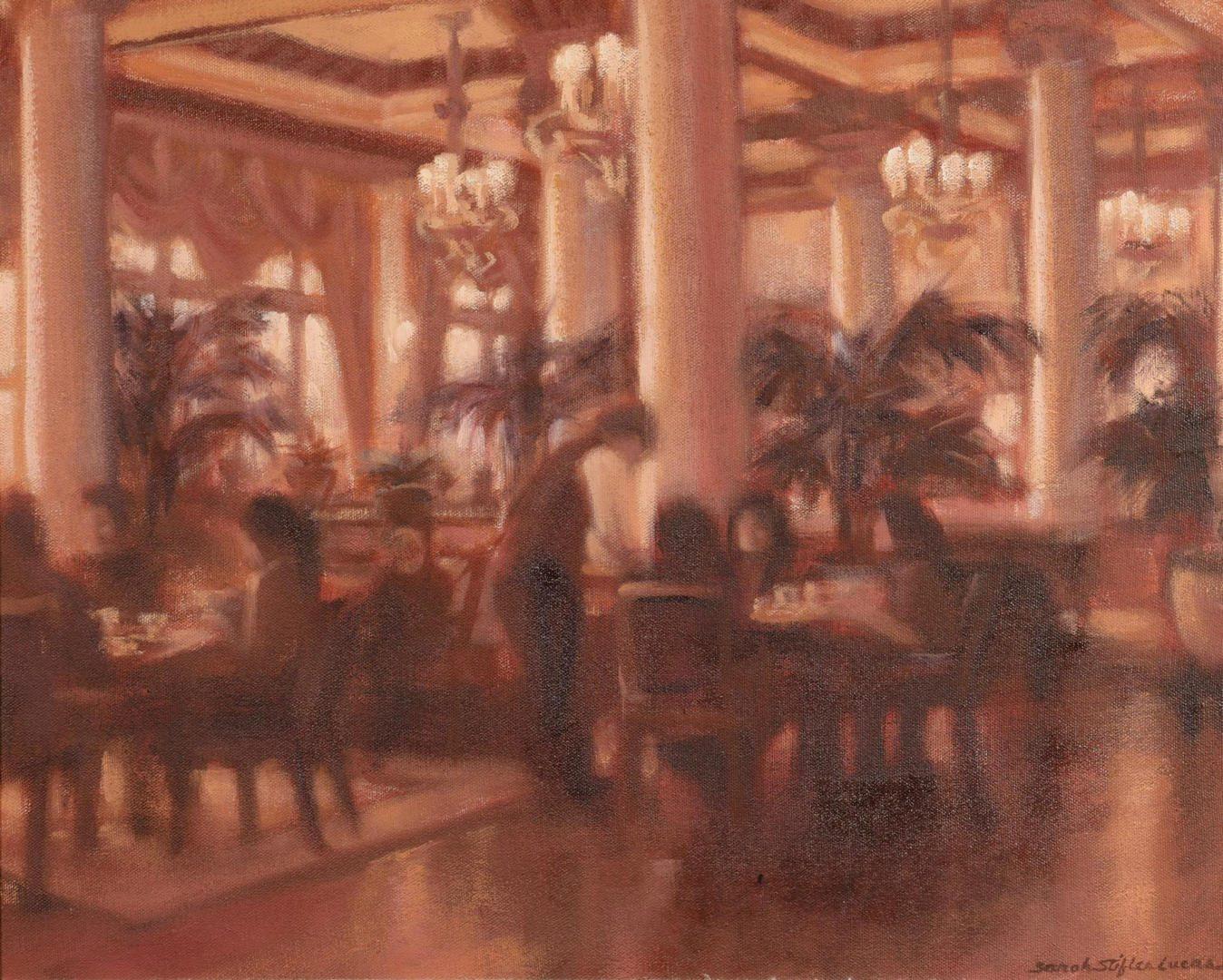 Lot 446: Sarah Stifler Lucas, O/C, Restaurant Scene