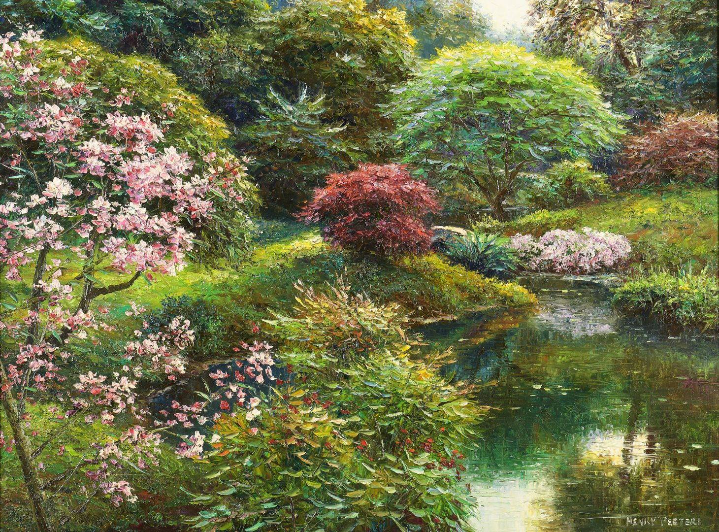 Lot 448: Henry Peeters O/C Garden Landscape