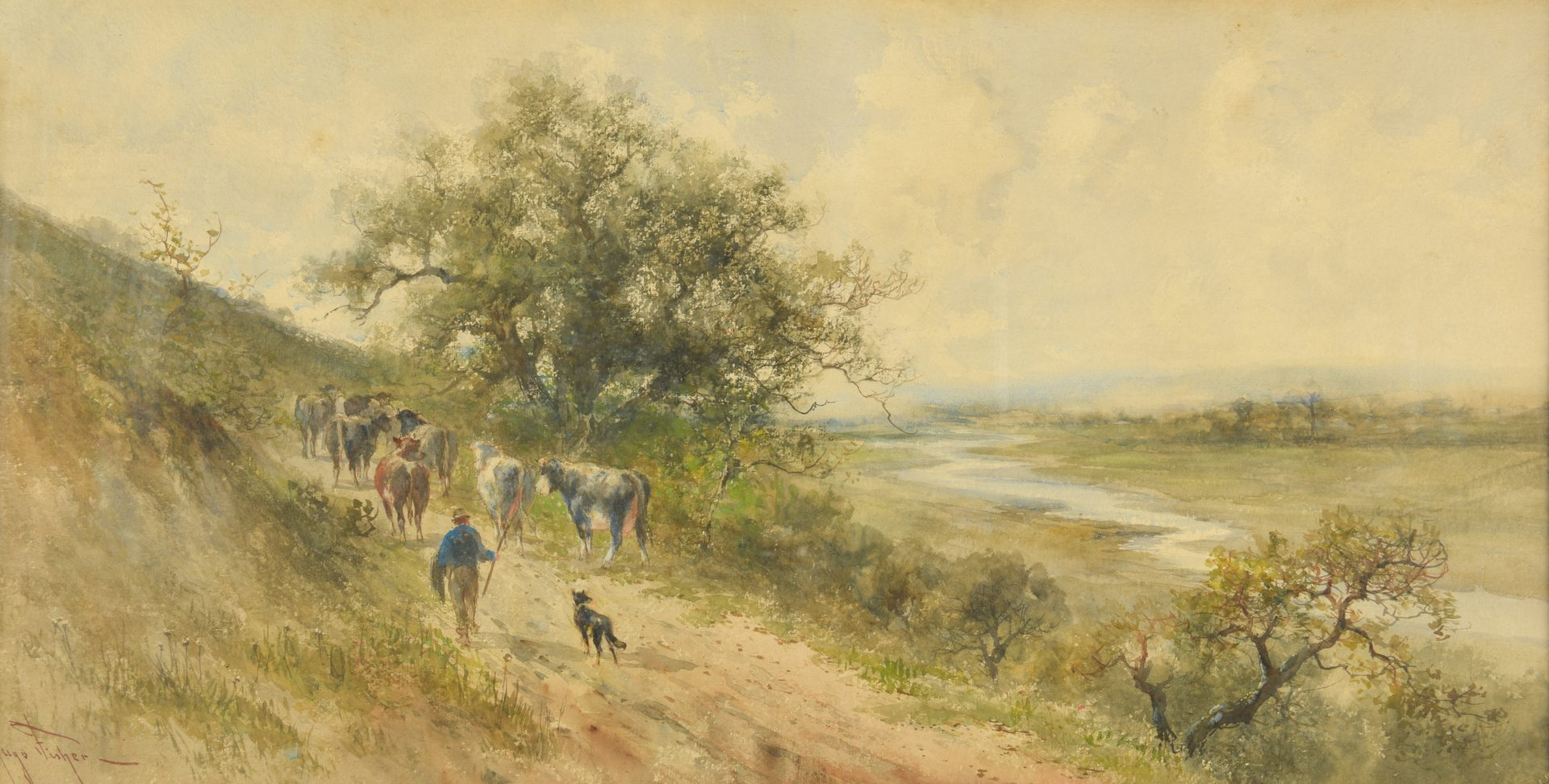 Lot 449: 2 Watercolor Landscapes: Fisher, Eisen