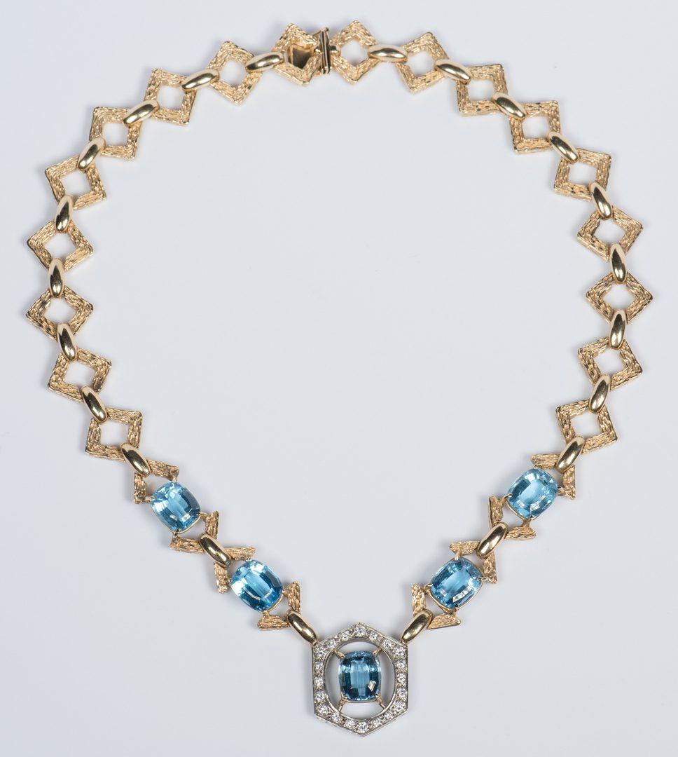 Lot 44: 14K Blue Topaz Diamond Necklace