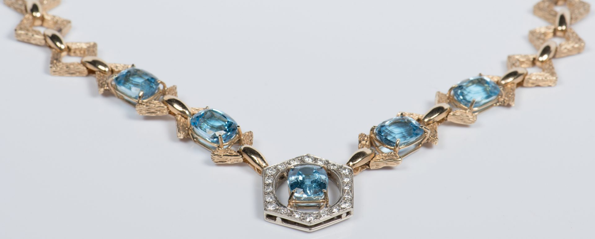 Lot 44: 14K Blue Topaz Diamond Necklace