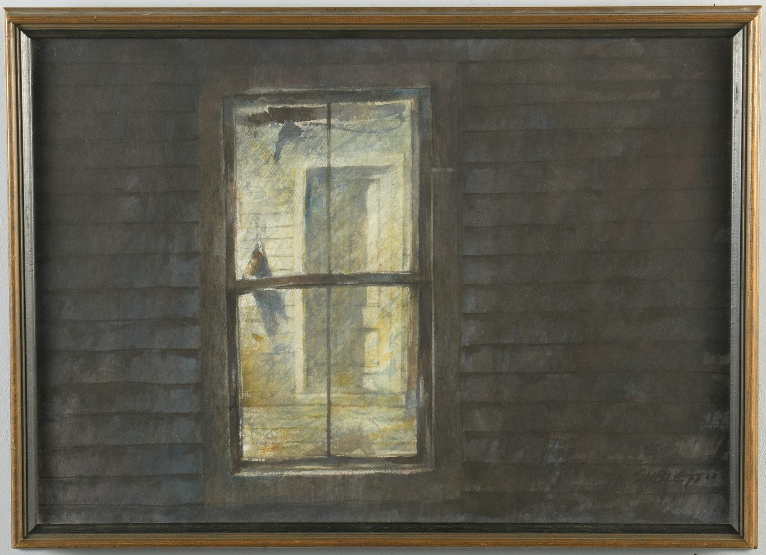 "Lot 461: Carl Sublett Watercolor, ""Window"""