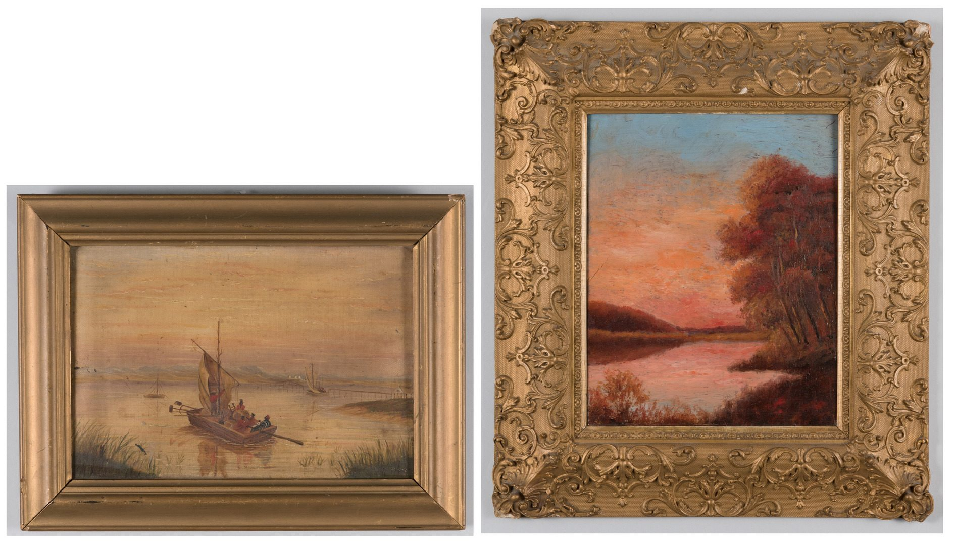 Lot 469: 2 oils: Clamdiggers and Sunset