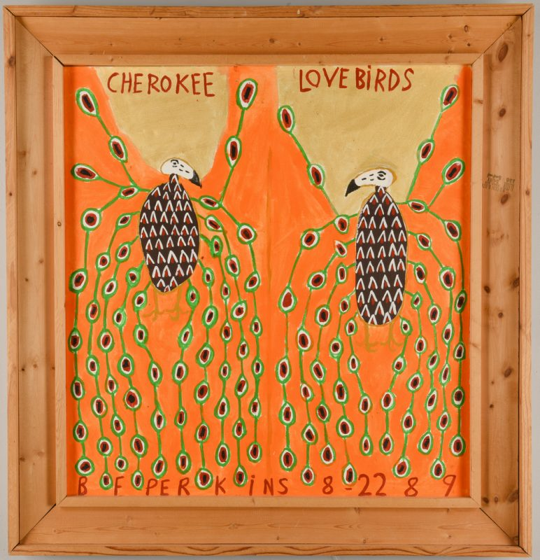Lot 472: Benjamin F. Perkins, O/C, Cherokee Love Birds