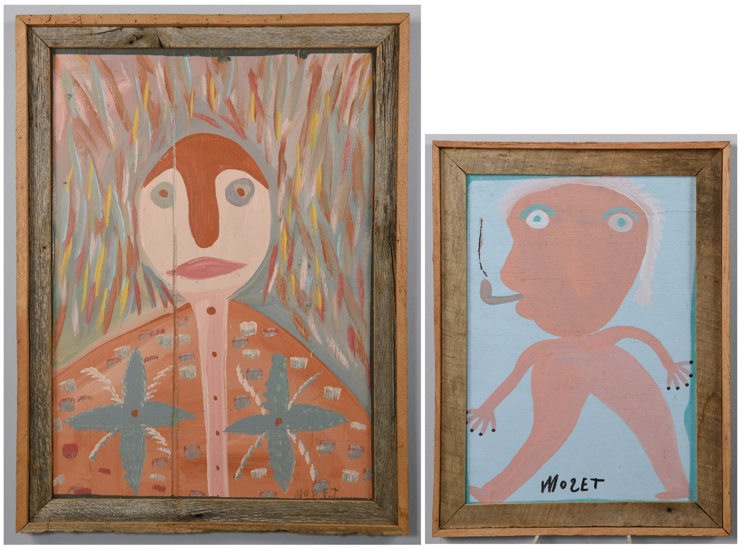 Lot 476: 2 Mose Tolliver Folk Art Paintings