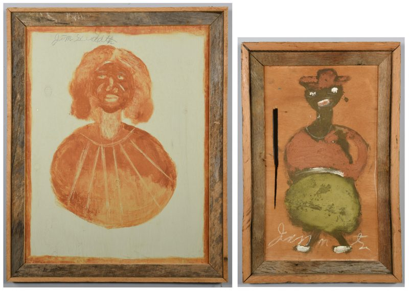 Lot 477: 2 Jimmie Lee Sudduth Paintings, Grandma Moses and Man