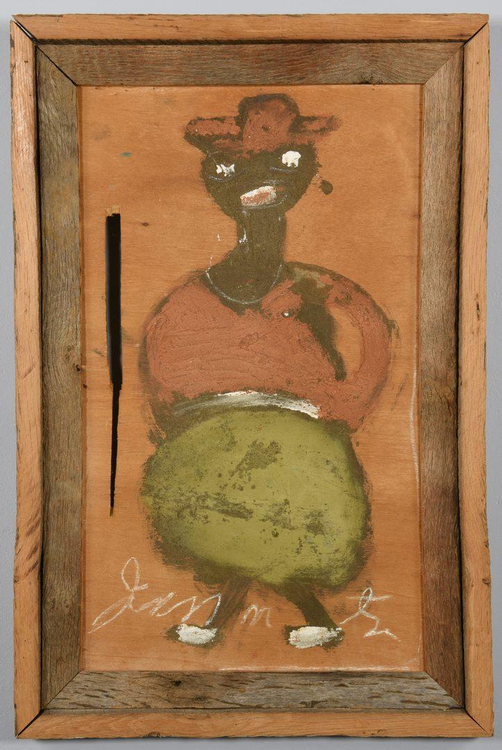 Lot 477: 2 Jimmie Lee Sudduth Paintings, Grandma Moses and Man