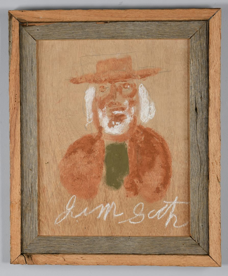 Lot 478: 2 Jimmie Lee Sudduth Paintings, George Washington and Woman
