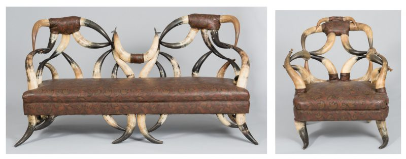 Lot 487: American Steer Horn Couch & Matching Chair