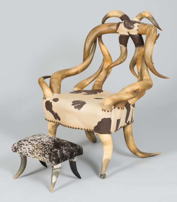 Lot 488: American Steer Horn Chair & Footstool