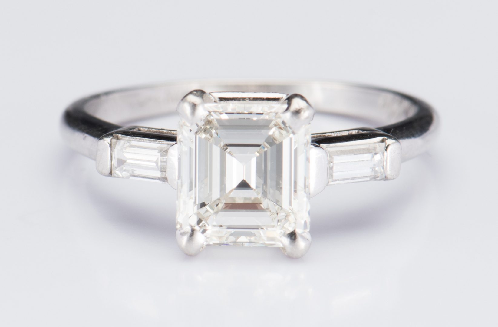 Lot 48: Plat 1.56 ct. Emerald Cut Diamond Ring