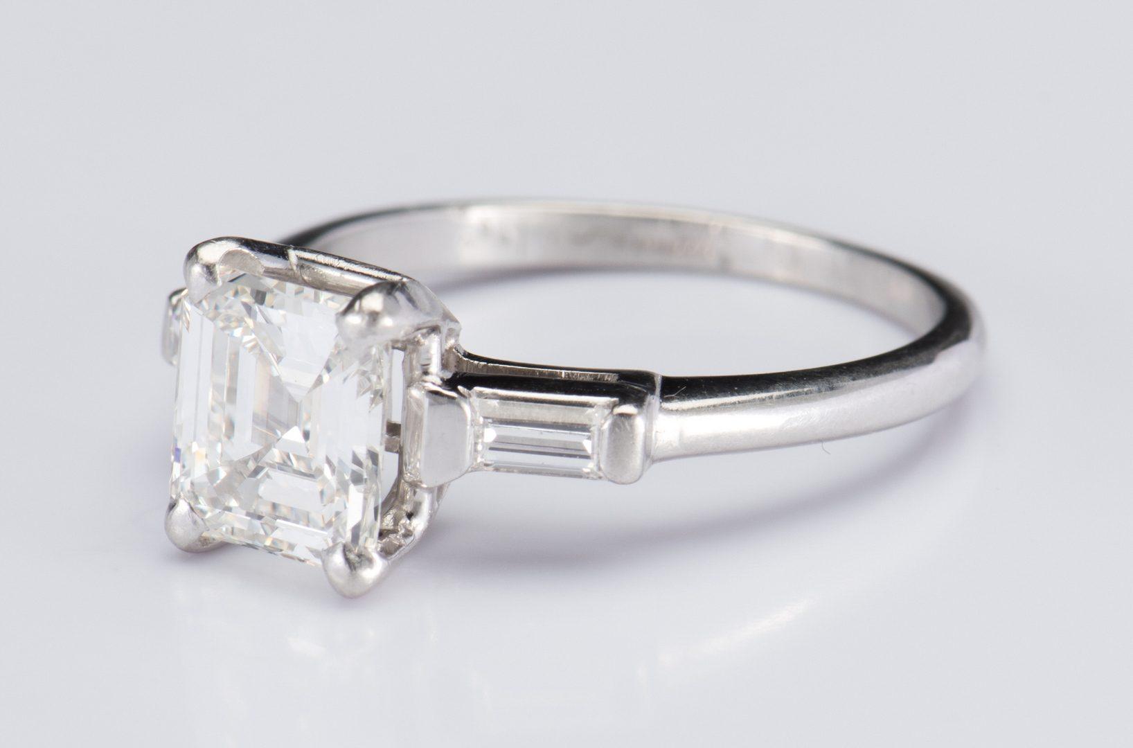 Lot 48: Plat 1.56 ct. Emerald Cut Diamond Ring