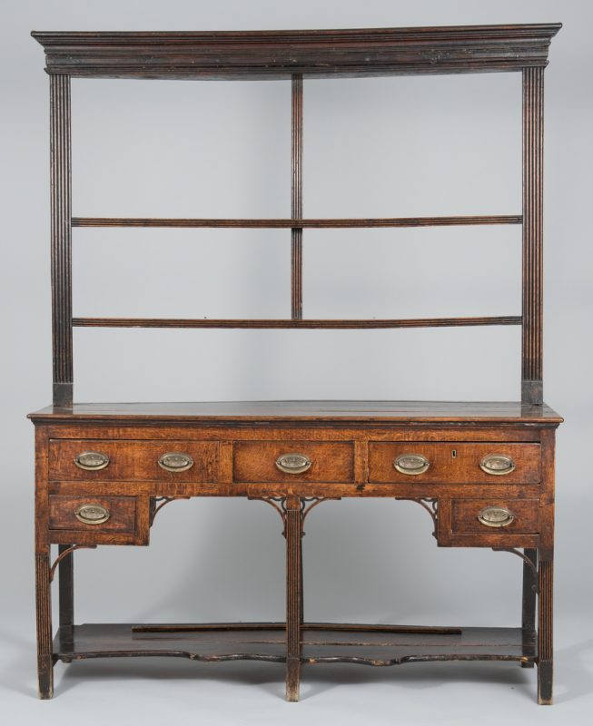 Lot 494: Diminutive Oak Welsh Dresser, 2 shelves