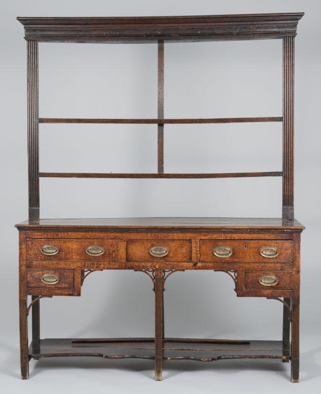 Lot 494: Diminutive Oak Welsh Dresser, 2 shelves