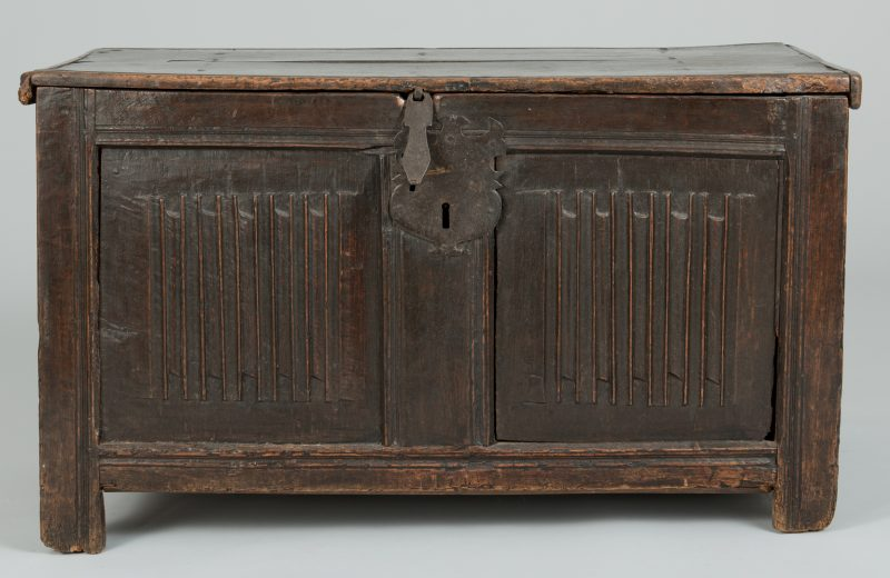 Lot 495: Tudor 16th c. Linenfold Coffer